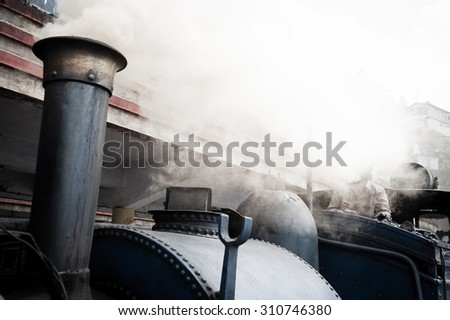 Historical Steam Train, Darjeeling, India  - stock photo