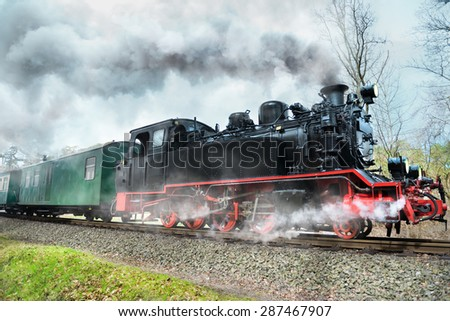 Historical steam train on island Rugen in Germany