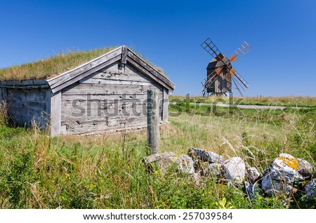 Historical symbols on Oland island - stock photo