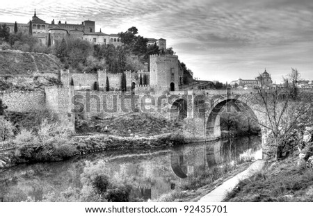 Historical Toledo view and bridge over Tagus, Spain. - stock photo