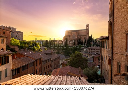 Historical town of Siena with San Domenico, Tuscany, Italy - stock photo