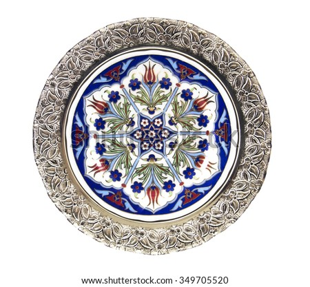 Historical Turkish tile plate - isolated - stock photo