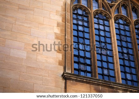 Historical walls and windows of a College in Oxford - stock photo
