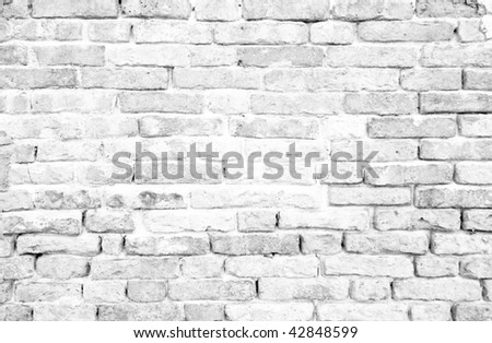 historical white brick wall background - stock photo
