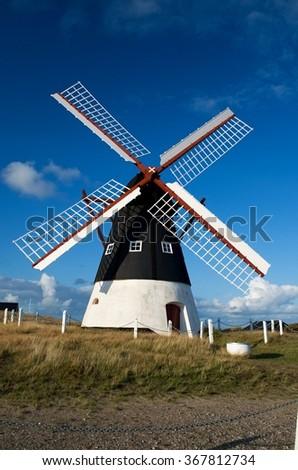Historical wind mill on Mando island in Denmark - stock photo