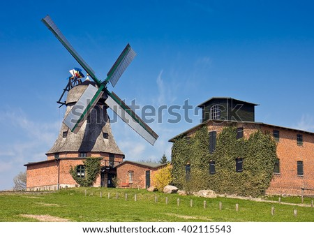 Historical Windmill at Malchow, Mecklenburg-Vorpommern, Northern Germany