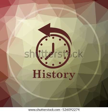 History icon. History website button on khaki low poly background.