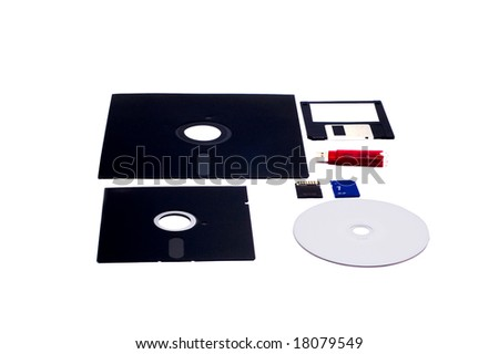 History of IT, from floppy disk to flash memory - stock photo