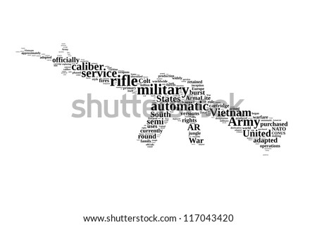 History of M16 gun in word collage - stock photo