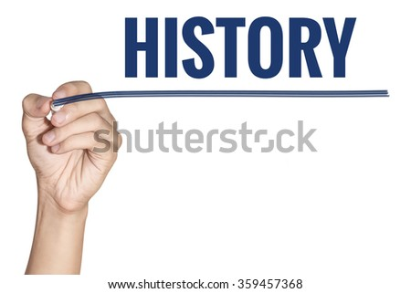 History word write by man hand holding pen with blue line on white background - stock photo
