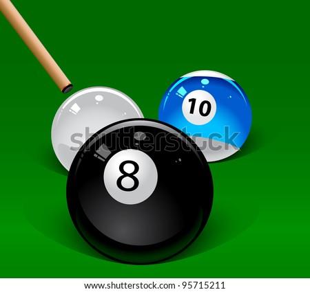 Pool Table Balls Scattered Splat Green Billiards ...