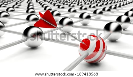 Hit the target, business success creative concept - stock photo
