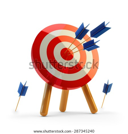 Hit the target concept, successful business strategy and targeting, target with arrows hitting the center - stock photo