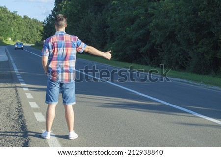 Hitchhiker - stock photo