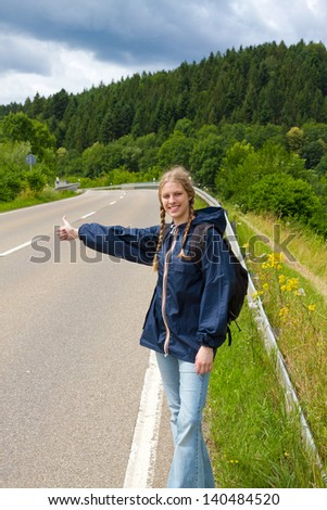 Hitchhiking - stock photo