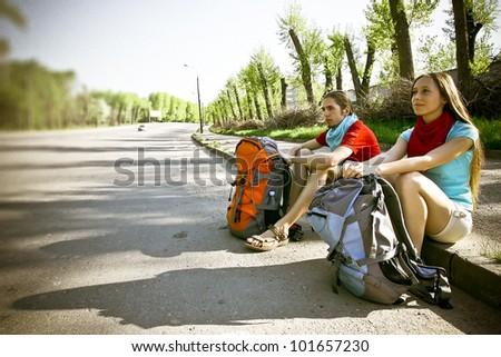 hitchhiking Journey - stock photo