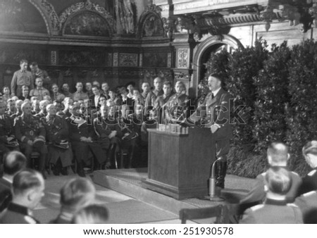 Hitler speaking in Danzig after the German invasion of Poland. He spoke to the German nation and the World from the main hall of the ancient Artus Court. World War 2. Sept. 19, 1939. - stock photo