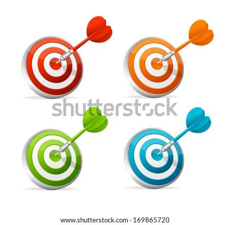 Hitting a target. Illustration on white background - stock photo