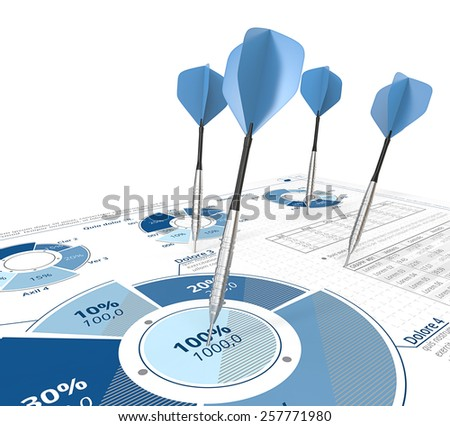 Hitting Target. Darts on infographics document with pie charts. Blue. - stock photo