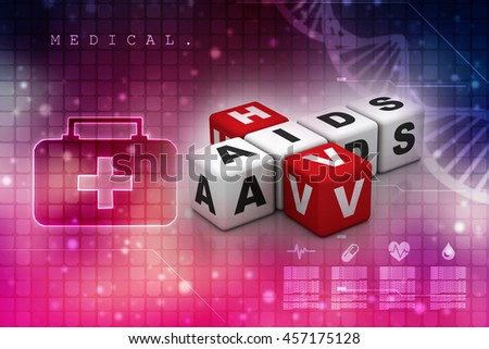 HIV and AIDS puzzle crossword,3d rendering