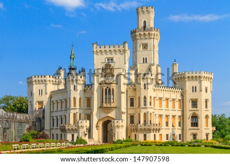 Hlubok¡ nad Vltavou (in German Frauenberg) palace, Czech Republic - stock photo
