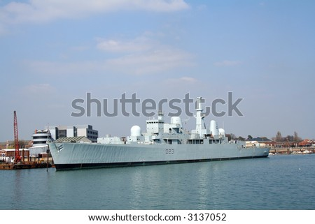 HMS Bristol (D23) at berth in Portsmouth harbour. The only example of its type, now a training ship - stock photo