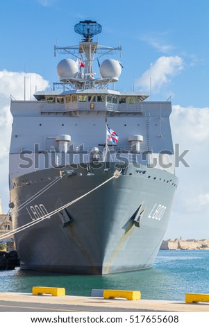 HNLMS Rotterdam L800, a Landing Platform Dock amphibious warfare ship of the Royal Netherlands Navy, Docked at the Grand Harbour, Valletta, Malta, November 2016