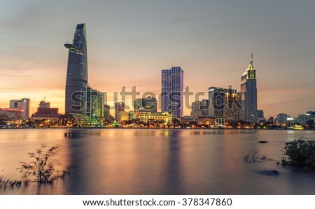 HO CHI MINH CITY - FEB 12 2016: Skyscrapers business center in Ho Chi Minh City on Vietnam Saigon in sunset