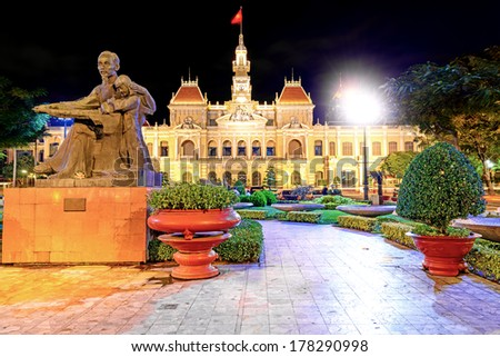 Ho Chi Minh City Hall in Ho Chi Minh City, Vietnam at night. It is known as Ho Chi Minh City People's Committee Head office and was built in 1902-1908 in a French colonial style. - stock photo