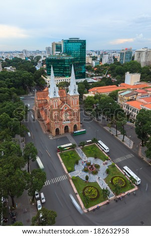 HO CHI MINH CITY - June 03: Notre Dame cathedral in Ho Chi Minh City, Vietnam high view. June 03, 2013 in Ho Chi Minh City.  - stock photo