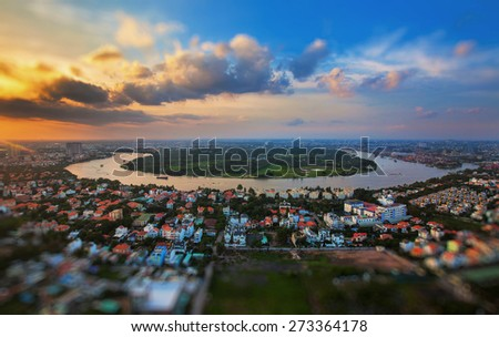Ho Chi Minh City - Saigon Aerial views of the city with tilt-shift and bokeh effect - stock photo