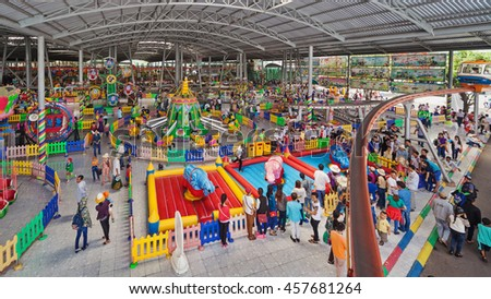 Ho Chi Minh city ( Saigon ), Vietnam - September 02, 2015: Kids zone and playground in children water park and historical theme amusement park Suoi Tien - popular travel destination in south Vietnam. - stock photo