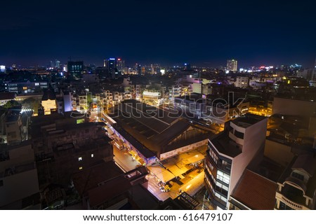 Ho Chi Minh city, Viet Nam - Apr 07, 2017: Tan Dinh market at night, Sai Gon, Viet Nam.