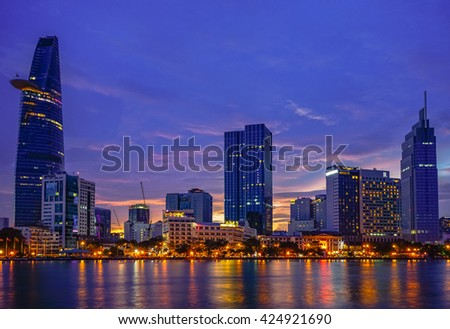 Ho Chi Minh City, Viet Nam 23 DEC 2015: Downtown Saigon in sunset ,Ho Chi Minh city, Vietnam. Ho Chi Minh city is the biggest city in Vietnam.