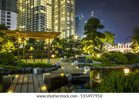 HO CHI MINH CITY, VIET NAM - JAN 14, 2017: Beautiful garden park in the night, Sai Gon, Viet Nam.
