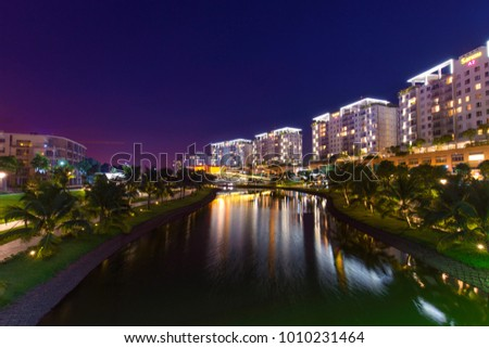 HO CHI MINH CITY, VIET NAM - JAN 26, 2018: City light at night, Saigon, Vietnam.