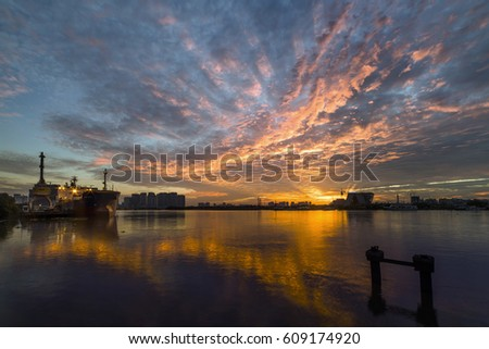 Ho Chi Minh city, Viet Nam - Mar 26, 2017: Bach Dang harbour over the sunrise, Sai Gon, Viet Nam.