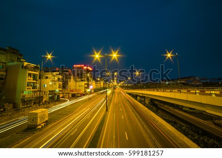 HO CHI MINH CITY, VIET NAM - MAR 13, 2017: Vo Van Kiet boulevard at night, Sai Gon, Viet Nam.