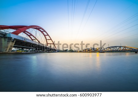 HO CHI MINH CITY, VIET NAM - MARCH 15, 2017: Binh Loi bridge old and new in the same photo, Sai Gon, Viet Nam.