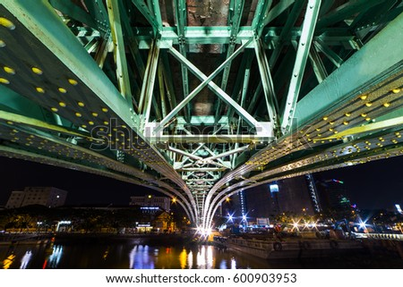 HO CHI MINH CITY, VIET NAM - MARCH 15, 2017: Cau Mong Bridge at night, Sai Gon, Viet Nam.