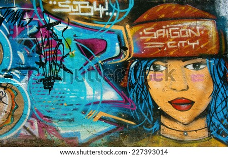 HO CHI <b>MINH CITY</b>, VIET NAM- OCT17: Amazing, beautiful, vivid painting - stock-photo-ho-chi-minh-city-viet-nam-oct-amazing-beautiful-vivid-painting-of-graffiti-art-on-wall-227393014