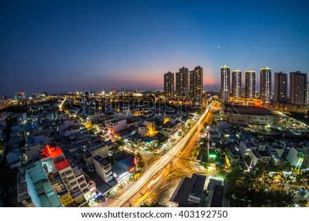 HO CHI MINH CITY , VIETNAM : APR 09 2016 : Sunset at Sunrise City - stock photo
