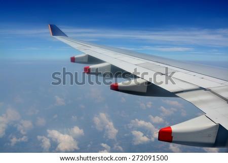 Ho Chi Minh City, Vietnam - April 05, 2015: Flying from Singapore to Ho Chi Minh City with Singapore Airlines. - stock photo