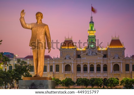 Ho Chi Minh City, Vietnam- April 16, 2016. The former city hall of Saigon was built during the French colonial period.Today it houses government offices. A statue of Ho Chi Minh stands in front.