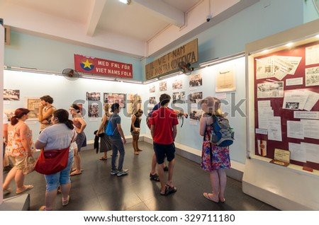 Ho Chi Minh City, Vietnam - August 13, 2015: the War Remnants Museum documents the Vietnam War through displays of military hardware and documentary photographs. - stock photo