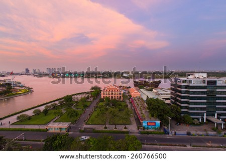 HO CHI MINH CITY / VIETNAM - CIRCA Feb 2015 : Dragon House Wharf ( Ben Nha Rong ) or Ho Chi Minh Museum at the junction of the Ben Nghe Canal and the Saigon River, Vietnam at sunset - stock photo