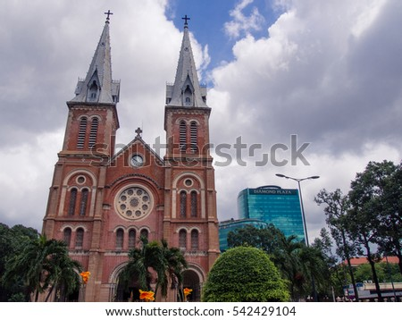 HO CHI MINH CITY, VIETNAM - CIRCA 2011 - The Notre-Dame Cathedral Basilica of Saigon circa 2011 in Ho Chi Minh City. This cathedral was constructed between 1863 and 1880.