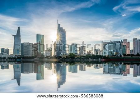 HO CHI MINH CITY, VIETNAM - DEC 07, 2016: Ho Chi Minh City view