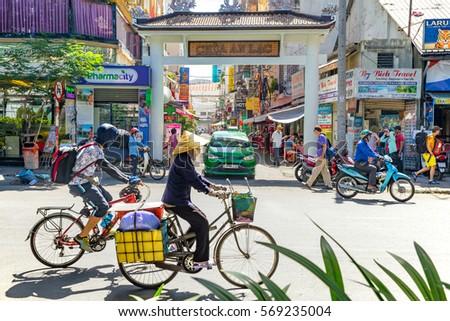 Ho Chi Minh City, Vietnam e January, 2017: street view of Pham Ngu Lao street, the backpacker district of Saigon.