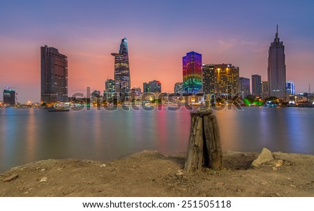 Ho Chi Minh City, VietNam FEBRUARY, 04, 2015: Downtown Saigon in twilight ,Ho Chi Minh city, Vietnam. Ho Chi Minh city is the biggest city in Vietnam. - stock photo